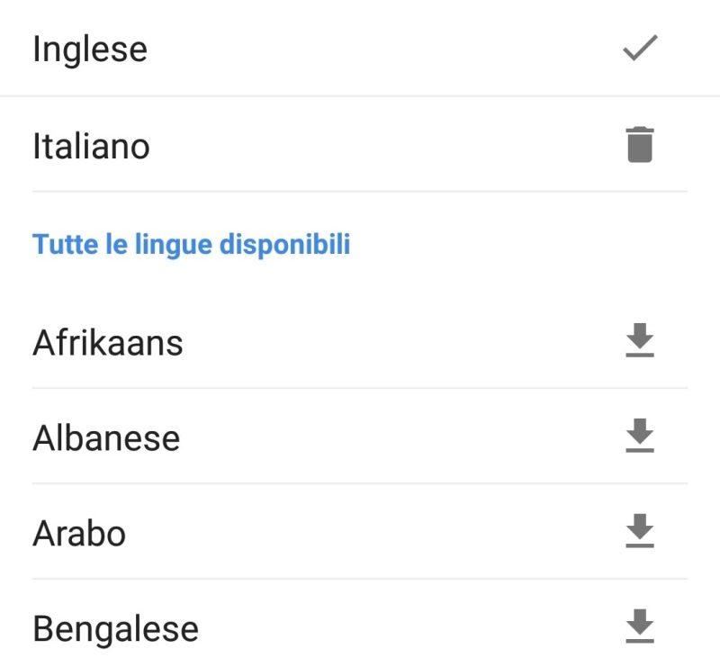 Traduttore Google lingue disponibili