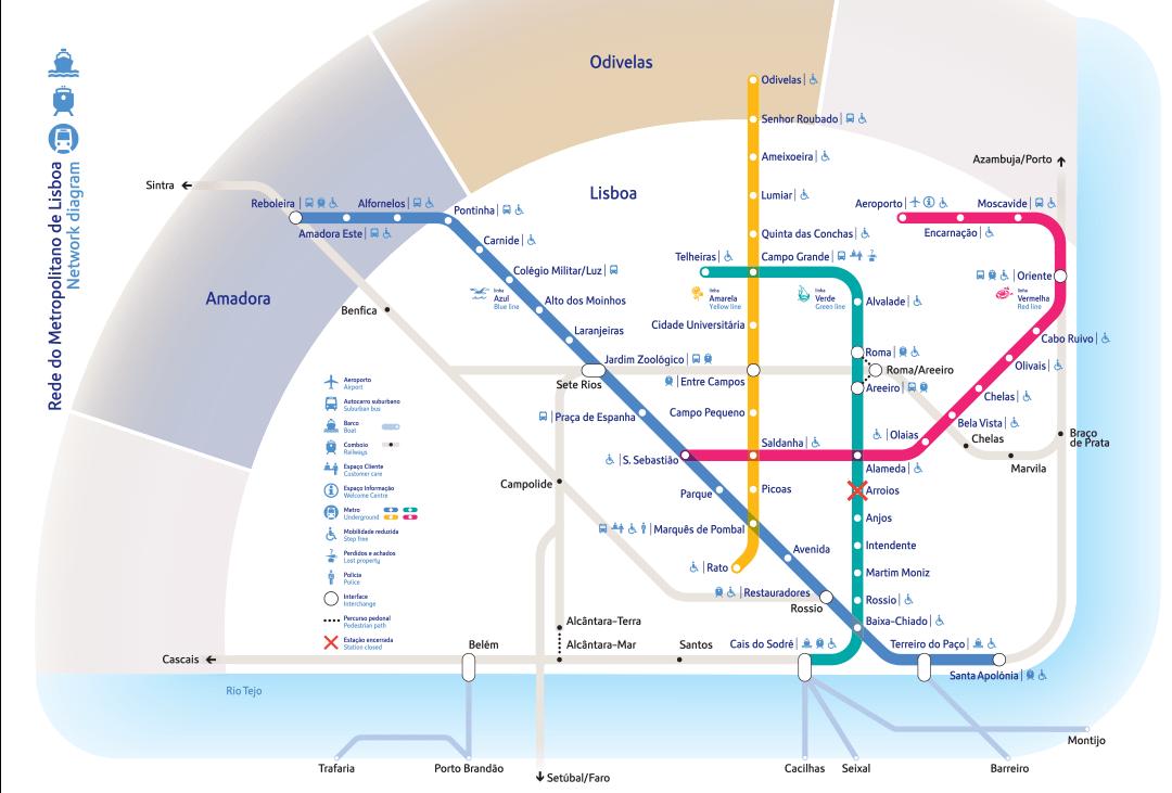 mappa metro lisbona